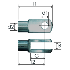 Clevis end fittings DIN71752 or similar, steel zinc plated 1